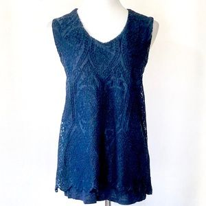New Directions Navy Layered Crochet Front Tank